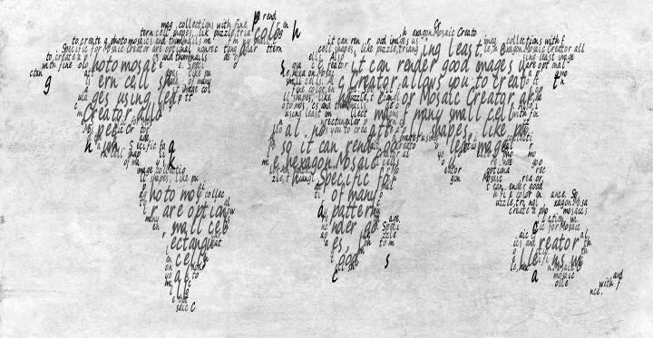 World map text mosaic