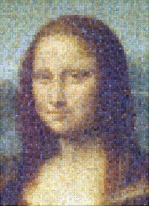 Photo mosaic art collage of coins - Mona Lisa