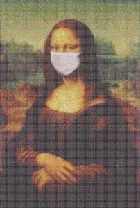 Mosaic Tile Design Mona Lisa face mask - Mosaic Creator