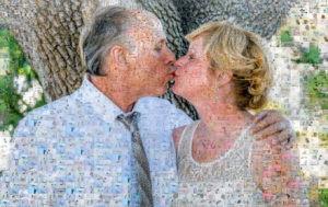 Photo mosaic of happy pair
