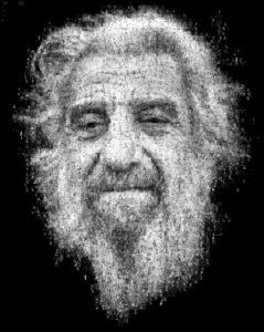 Photo mosaic of old man
