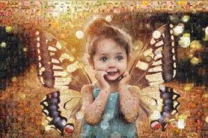 Photo mosaic of butterfly girl - Mosaic Creator