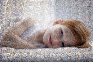 Photo mosaic of happy girl