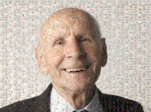 Photo mosaic of happy old man