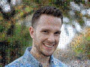 Photo mosaic of man model