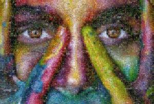 Photo mosaic color art - color woman