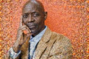 Photo mosaic of thinking man