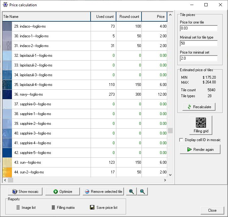 Optimize tile mosaic price