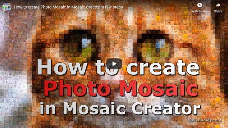 Video tutorial how to create photo mosaic with Mosaic Creator